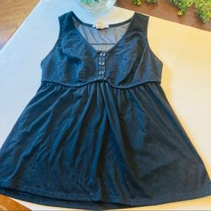 Charlotte Russe dark gray baby doll top L